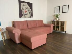 CORNER SOFA BED IN PINK COLOUR