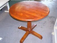 Circular Wooden Dining Lamp or Hall Table on Pedestal Feet