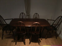 Circa 1960's Vintage Antique Ercol Windsor Elm Dining Table w/Chairs