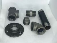 Malleable iron pipe fittings and threaded pipe