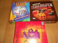3 x, board game, taboo, scattergories, yahtzee texas holdem
