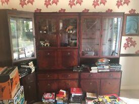 Mahogany wood veneer dresser unit with lights £75