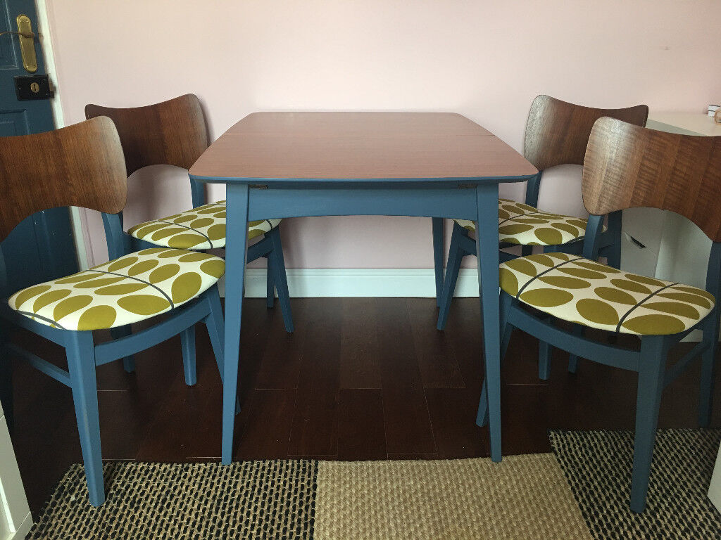Vintage Retro Mid Century Dining Table 4x Chairs With Orla Kiely Print