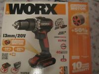 Worx WX373.2 Lithium-Ion Brushless Impact Drill - 20V with 2 batteries New
