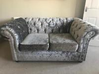 2x two seater crushed velvet couch