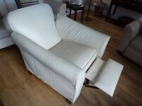 Two (2) M&S Abbey Recliner Armchairs in Alabaster Leather