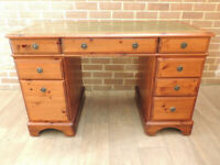 DUCAL Pine Wood Desk with Leather Top (UK Delivery)