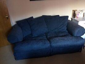 Blue Fabric Settee Sofa