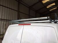 VW T5 TRANSPORTER SWB ROOFRACK - RHINO 4 BAR & ROLLER WITH LOAD STOPS - LESS THAN 4 MONTHS OLD