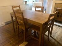 Ikea pine effect dinning table and 4 chairs
