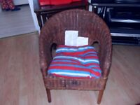 KIDS WICKER/RATTAN CHAIR + CUSHION