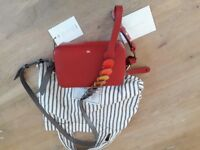Anya Hindmarch red leather circle strap crossbody bag new with tags and dustbag