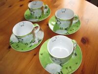 Farm Yard Themed Cups and Saucers set of 4