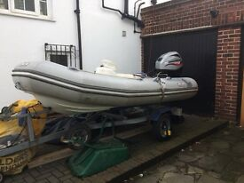 Avon 340 rib including 30 Mariner Four Stroke EFI, trailer and cover, only used on fresh water.