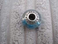 GENUINE Pandora Blue Fizzle Murano Charm in Sterling Silver