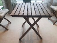 Wooden Patio Table and Two Chairts