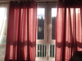 """EYELET CURTAINS FOR SALE.STILL LOOK LIKE NEW.90"""" X 90"""" DROP."""