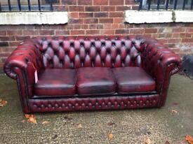 Oxblood Chesterfield Leather Sofa - Others Avail - UK Delivery