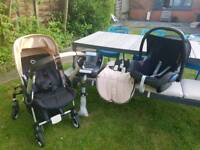Bugaboo Bee complete with Maxy Cosi car seat and iso fix base
