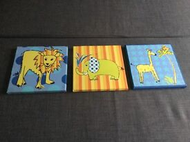 Toddlers / baby / boys bedroom pictures canvas set of 3