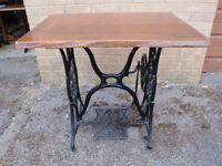Vintage Singer Sewing Machine Table with Replacement Solid Wood Top