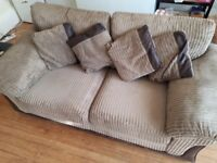 Brown Corduroy /Leather Two/Three Seater Sofa Great Condition £80 REDUCED FOR QUICK SALE