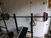 Adidas weight bench with preacher lots of weight and bars