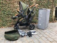 EGG Stroller Tandem / Pram Limited Edition Forest Green Gun Metal Twin/Double (SK10)