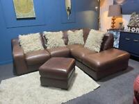 Brown tan leather Violino corner chaise sofa and footstool