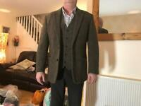 vintage style tweed jacket and waistcoat size xl
