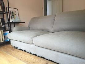 Loaf sofa for sale. This is the 3 seater Jonesy in French Blue brushed cotton in perfect condition