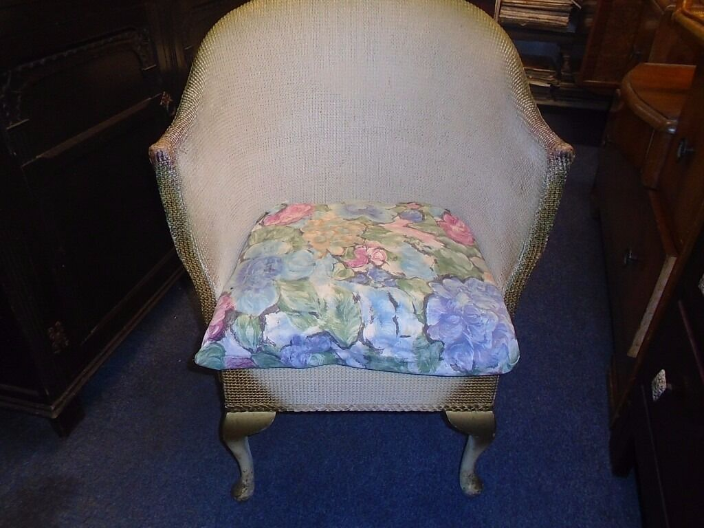"""vintage loom style chair with queen ann legsin Fforestfach, SwanseaGumtree - vintage loom style chair with queen ann legs. its in good condition. needs some attention. be a nice shabby chic or up cycle or restoration project. height to seat 17"""" height to back. 30"""" width 23"""" depth 18"""""""