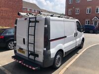Vauxhall vivaro, ex bt van. Double side sliding doors. Ladders and steps at back. Roof racking