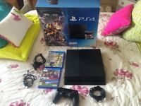 sony ps4 black 500g,wireless controller,boxed as new with all leads,2 games FIFA 17/pes 17