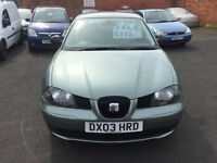 Seat Ibiza 1.2 12v 5dr - 2003, 2 Owners, 65K Miles, MOT MARCH 2017, Lovley condition, CHEAP £895!