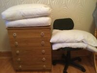 Free swirl chair, small chest of drawers, pillows