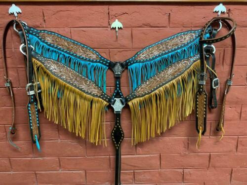 Western Natural Leather Hand caved Tack Set of 2 headstall and Breast Collar