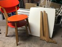 MADE small kitchen table & 2 orange chairs