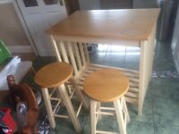 Kitchen table with two stools set
