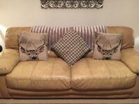 Italian tan Leather 3 + 2 seater sofas