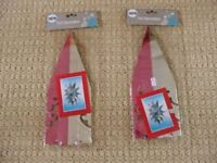 2 Pink and Silver Star Foil Christmas Ceiling Hanging Decorations Xmas