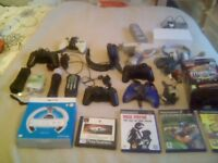 Mixed lot of playstation ect games leads controllers ect.