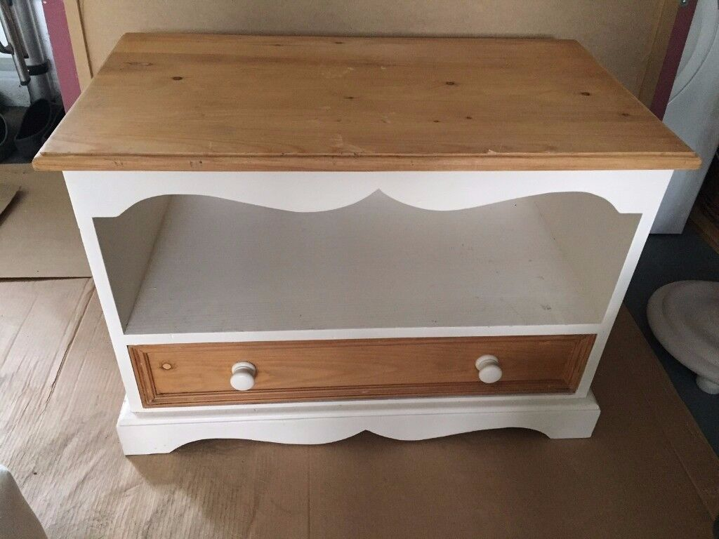 TV unit or bedside table 'shabby chic' pine & chalk painted