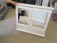 Pine Mirrored Bathroom Cabinet White