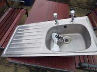 kitchen sink left hand drainer with taps