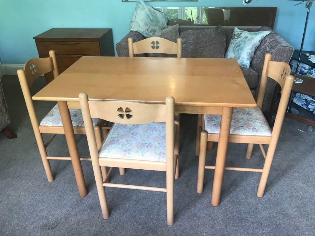 Beech or Birch Kitchen Table / Dining Room Table and 4 ...