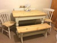 Dining Table, Bench, 2 Chairs