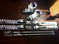 Dynastar Skis premium exclusive sensation type, silver, electric blue, black, Salomon Boots 5, poles