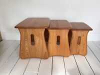 vintage Ercol nest of side tables coffee trio model 1159