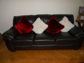 Brown Leather Three Piece Suite. Three Seater Sofa and Two Arm Chairs